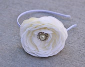 Ranunculus ivory headband - silk flower, ribbon rosette, pearl rhinestone, white ribbon wrapped hard headband