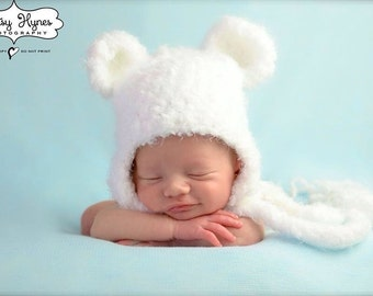 Crochet Fuzzy Soft Polar Bear  Hat, photography prop, 0 to 3 months, crochet hat