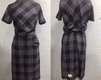 1960s Black and Grey Cotton Day Dress