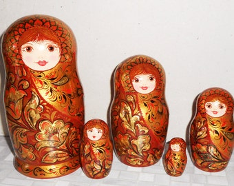 Russian Nesting dolls matryoshka in style khokhloma modern in handmade