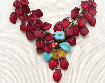 Red Floral Statement Necklace, Turquoise Red Leaf Bib Necklace,  Red Beaded Necklace,  Red Nature Jewelry,  Twisted Wire Jewelry,