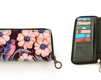 Wallet, Sweet Swallow, bird, blue, flowers, retro look
