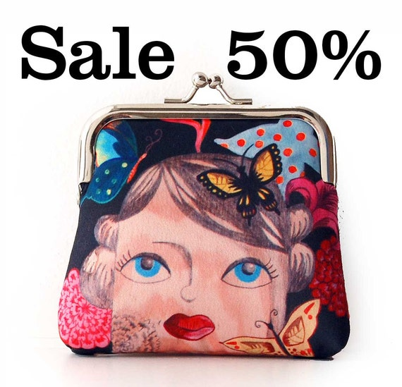Sale, Coin purse, Thoughts,  illustrated, butterfly flower theme, retro, rockabilly, pinup, Saint-Valentine