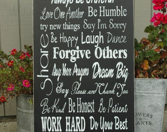 Family Rules Subway Sign Distressed Hand Painted on Wood Board