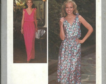 VTG Simplicity 8955 Misses and Miss Petite Jiffy Pullover Shoulder Tie Dress Pattern, Available Size 10, 12 & 14 UNCUT