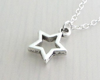 Silver Plated Hollow Star Charm On A Sterling Silver Necklace, Silver Star Pendant, Small Star Necklace