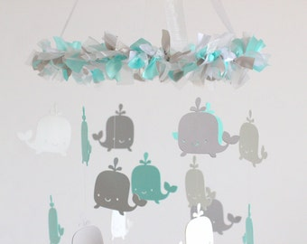 Whale Ocean Nautical Mobile in Aqua, Gray & White-Baby Mobile, Baby Shower Gift
