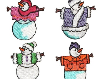 ID #8217A-D Set of 4 Snowmen Christmas Winter Decoration Iron On Applique Patch