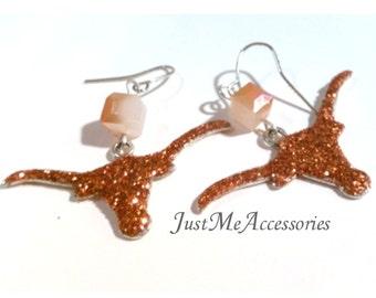 University of Texas Longhorn Burnt Orange Glitter Longhorn Charm Earrings(3)