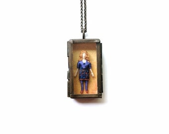 "Claire - ""Little Friend"" Miniature Shadowbox Pendant - Worry Doll"