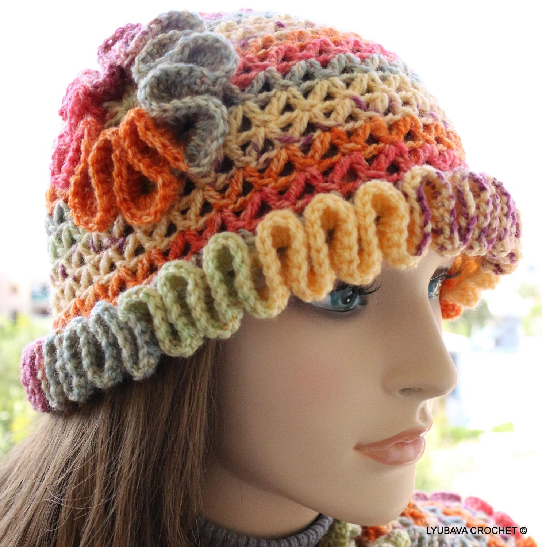 CROCHET PATTERN Women's Hat With Flower Crochet By LyubavaCrochet