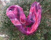 Ruby Red Lace Hand Painted Pure Silk Chiffon Infinity Scarf Shibori Boho in black, red, white and burgundy