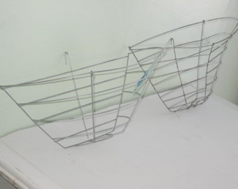 2 Vintage Wire Hanging Half Baskets