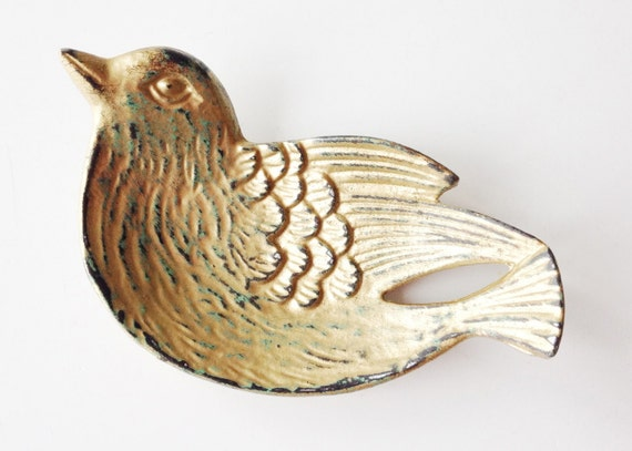 Bird Ring Bowl Gold Ring Dish Jewelry Holder Pantina Home Decor Stocking Stuffer
