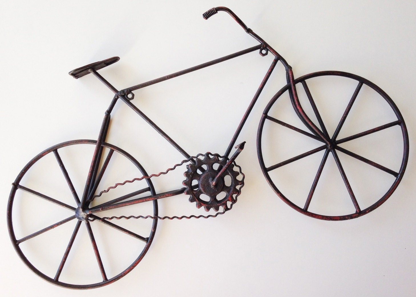 Bike wall decor black bicycle wall hanging vintage style for Decoration murale velo