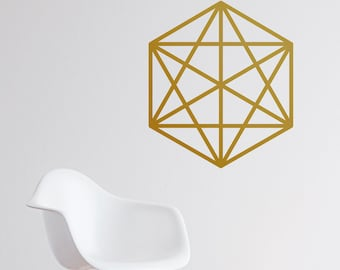 Octahedron Wall Decal - Geometric Shaped, Abstract Wall Decal, Abstract Nursery, Geometric Wall Decal, 3D Wall Decal, Octahedron Sticker