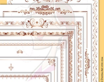 page borders rose gold document frame 8x11 retro ornate flourish frames award certificate clip art antique - Document Frames