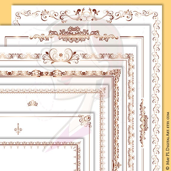 page borders rose gold document frame 8x11 retro ornate flourish frames award certificate clip art antique