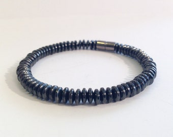 Magnetic hematite bracelet - 6mm flat disk beads - custom sized