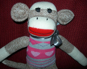 Classic Brown Red Heel Sock Monkey Doll