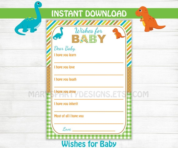 Dinosaur Baby Shower Games Wishes For Baby Printable PDF