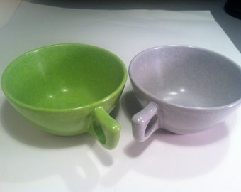 Two Mid Century Modern Tea Cups - Made of Melmac.