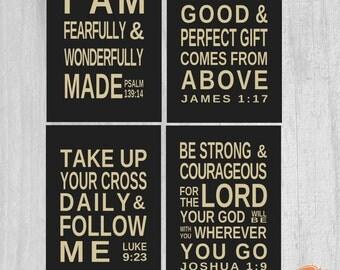Set of 4 Printable Art Digital Download Scripture  Psalm 139 James 1 17 Luke 9 23 Joshua 1 9   5x7 inch Scripture Memory Wall Art Prints