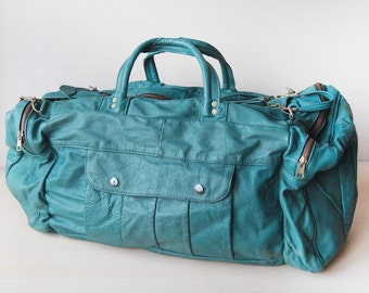 Teal green leather large holdall travel duffel bag
