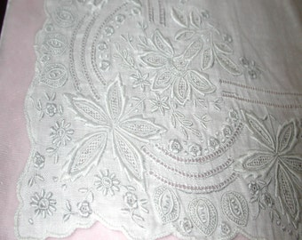 """No. 200 LOVELY ANTIQUE White Swiss Appenzell Hand Embroidered Handkerchief, 10 x 10"""", White, No. 9"""