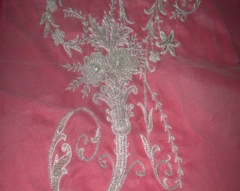 """No. 200 French Design of Couture Hand Embroidered MONOGRAM  """"N"""" With Beading"""