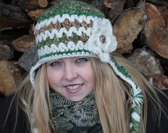Womens Crocheted Earflap Hat/Ready to Ship