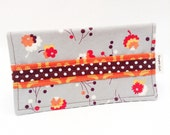 Gray Floral Fabric Checkbook Cover - Coupon Holder - Cash Wallet