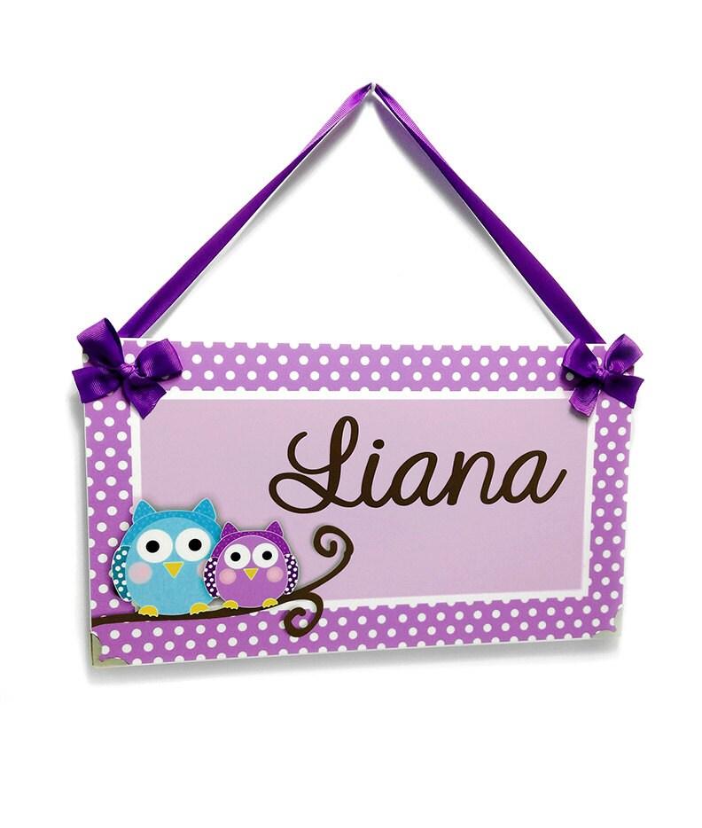 Personalized owls bedroom decor kids door signs girls for Personalized kids room decor