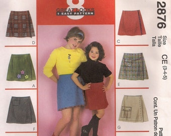McCall's Sewing Pattern 2876 - Children's and Girls' Skorts (3-5, 4-6. 7-10, 10-14)