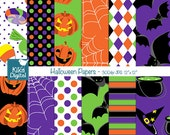 Halloween Papers - Digital Scrapbook Papers - card design, invitations, stickers, paper crafts, web design - INSTANT DOWNLOAD