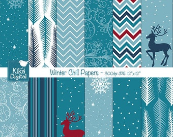 Winter Digital Papers, Winter Chill Scrapbooking Papers, Blue Winter Background, Winter Cards- INSTANT DOWNLOAD