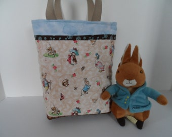 Peter Rabbit tote bag,  back to school preschool tote for books, snacks or lunch bag