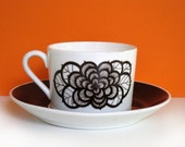 Gustavsberg Rosenbrun, coffee cup and saucer, Sweden, vintage