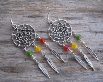 Rasta Dreamcatcher Earrings, LARGE Feather Earrings, Antique Silver, Native, Ethiopian, Jamaica, Personalized, Dream Catcher, Southwestern