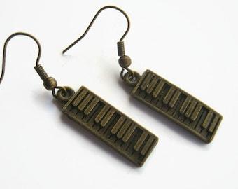 Keyboard Earrings, BRONZE Piano Earrings, Music Earrings, Personalized Birthstone Earrings, EDM, Electronic Musical Jewelry, READY To Ship