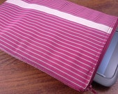 Vintage Obi fabric tablet cover / sleeve with zipper closure - maroon with stripes