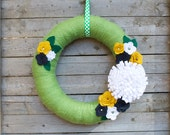 "Alternative Holiday Wreath w/ Felt Flowers, Navy, Mustard, White & Green 14""  Wreath"