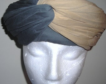 Vintage Silk Turban Hat  .........1950's  Vintage Turban....Two Tone Silk Turban Hat ...Fashionista's Choice