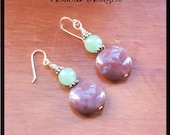 Small Earrings of Indian Agate disc gemstones in a pale crimson pink with green adventurine and sterling silver.  Small handmade earrings.