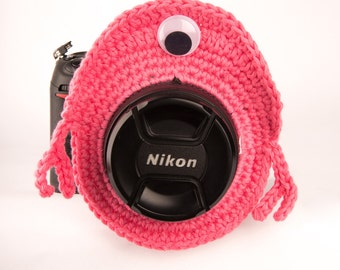 Large Pink Monster Camera Buddy, One-eyed Pink Monster Lens Buddy w/ Squeaker option, Photography Prop