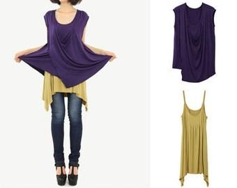 Dark Violet Modal Cotton Design Tshirt & Yellow Ochre Pleats Tank Tops