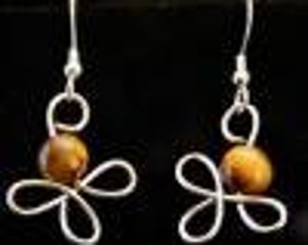 Sterling silver wrapped 1-bead earrings