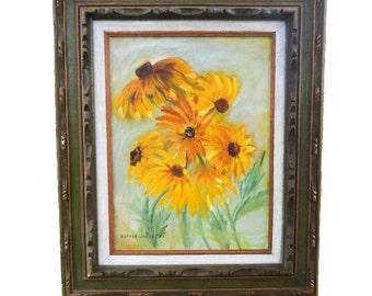 Vintage 1983 Country Floral Oil on Board Painting Signed Esther Jones Yellow Gold Black Eyed Susans Sunflowers Still Life Painting Rustic