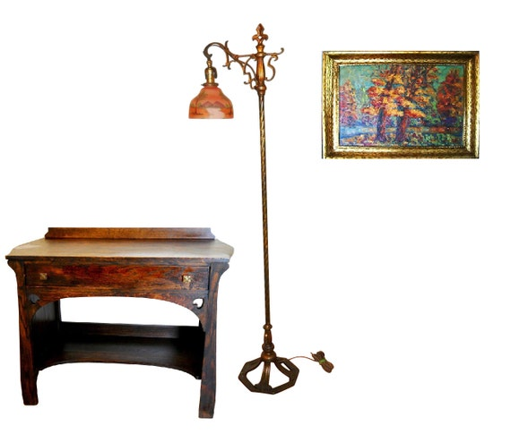 Antique Arts and Crafts Stickley Era Art Deco Signed Hammered Iron Cold Painted RARE Signed Floor Lamp Reverse Painted Tree Shade