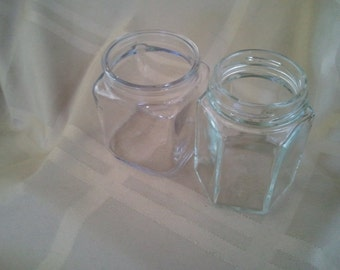 Glass Apothecary Bottles Jars Set of 2 no caps no corks